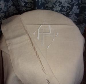 beau drap ancien en lin tat neuf monogramme pp. Black Bedroom Furniture Sets. Home Design Ideas