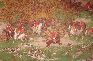TISSU ANCIEN CHASSE A COURRE