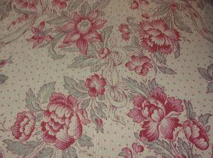 1 a beau tissu ancien lin imprime fleurs et rubans. Black Bedroom Furniture Sets. Home Design Ideas